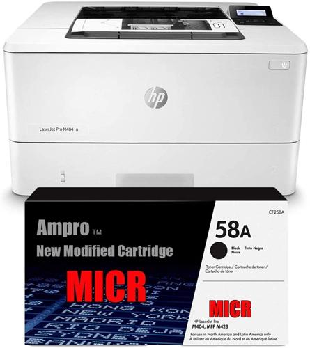 Ampro Laser Check Printer M404N, MICR Printer Bundle with CF258A MICR