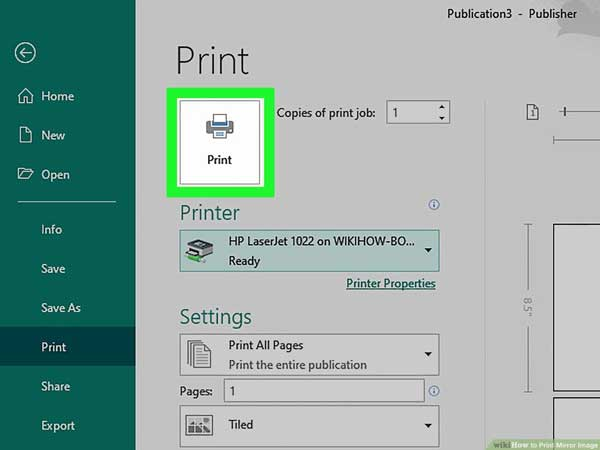 use the printer to create a mirror image