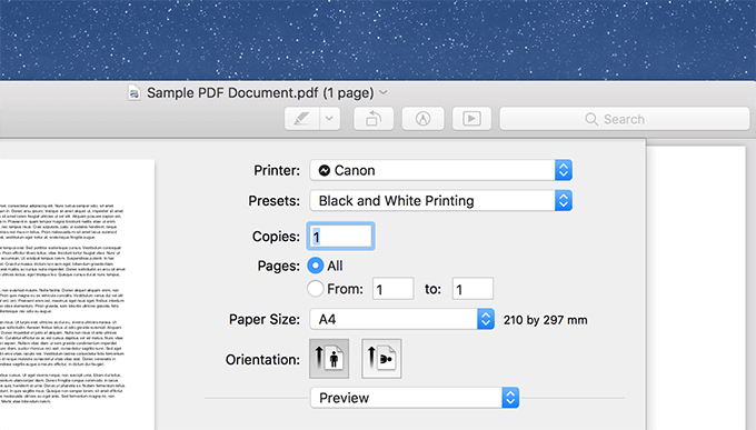 Printing in black and white on Mac