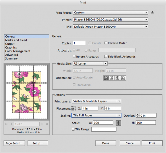 What is tiled printing